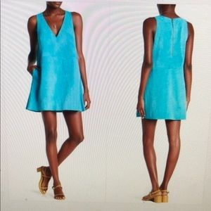 NWT Free People Retro Love XS Blue suede dress